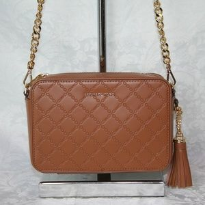 MICHAEL KORS CROSSBODY MEDIUM CAMERA ACORN BAG LEA